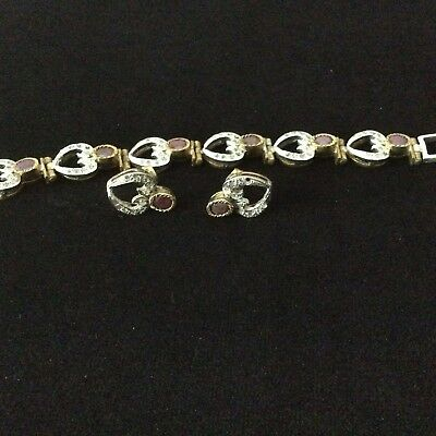 """Pre - Own Antique 925 silver """"Be My Valentine""""  red stone Bracelet set Earring"""
