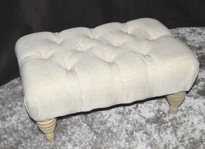 Cream Chesterfield Style Fabric Buttoned Pouffe Footstool With Wooden Legs