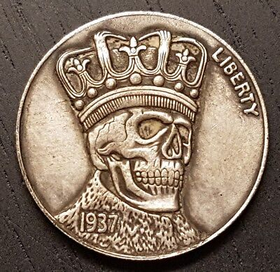 Hobo Liberty Nickel Coin 1937 Buffalo Fantasty Art - Five Cents Skull with Crown