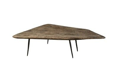 """63"""" L Cocktail Table Skipping Stone Coffee Grey Forged Base Wood 685"""