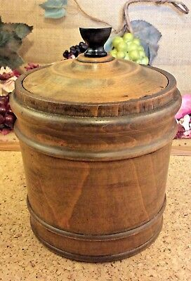 Antique Solid Wooden Caddy Pot or Jar 5 Inches Tall FREE UK POST