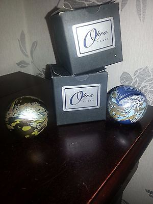 2 X Okra Iridescent Glass Paperweights Both  In Original Box