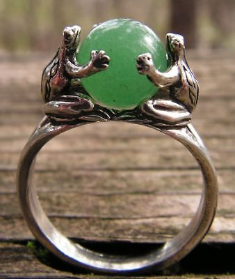 Sterling Silver Frogs Ring With Aventurine