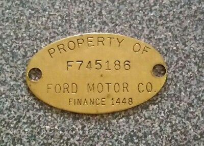 Vintage Old Brass Property Tag: FORD MOTOR CO Detroit Area; Ford Finance 1448