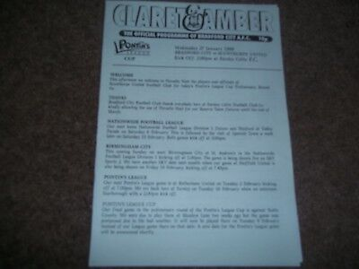 Bradford City V Scunthorpe United Reserves Pontins League Cup 27Th January 1999