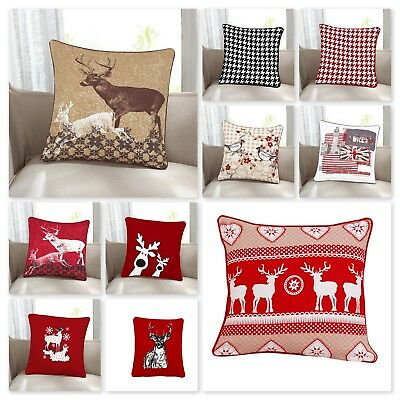"Brand New Christmas Cushion Covers, 100% Cotton, In Various Designs (18"" x !8"")"