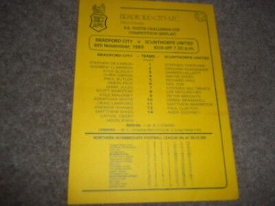 Bradford City V Scunthorpe United Fa Youth Cup Replay 6Th November 1989 S/s
