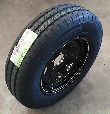 """14"""" BLACK Steel Rim to suite Holden HQ pattern with 185R14C Light-Truck Tyre"""