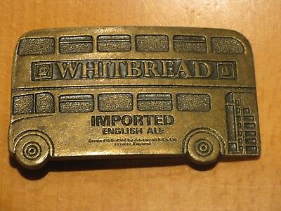 Vintage Brass Belt Buckle Whitbread Imported English Ale