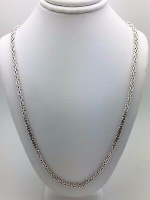 """Sterling Silver Square Byzantine Chain Necklace 20"""" 17.5g 2.4mm"""