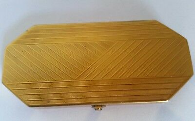 Vintage Art Deco 1920 HOUBIGANT Gold Tone Chevron Triple Vanity Compact. UNUSED!