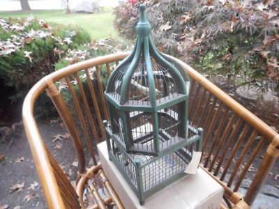 Vintage Handcrafted Domed Wood And Wire Bird Cage Birdhouse With Wooden Bird
