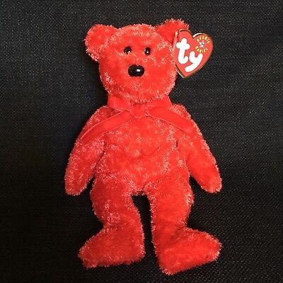 be54619c44b Ty Beanie Baby 2001 Sizzle Red Bear Valentines Day Bow Stuffed Animal Toy