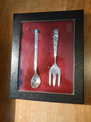 Rare Don Platero Navajo Sterling Silver Turquoise Serving Spoon Fork Set Marked