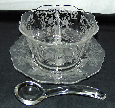 Cambridge CHANTILLY CRYSTAL *FLARED 2 PART MAYONNAISE w/LADLE & PLATE*3900/111*