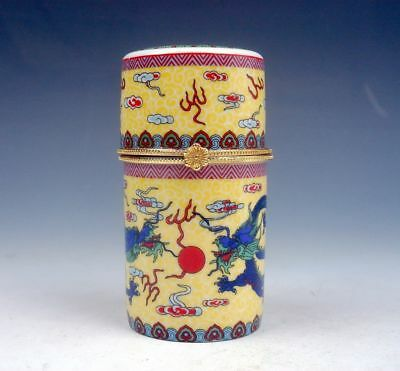 Yellow Famille-Rose Dragon Fireball Painted Porcelain Toothpick Holder