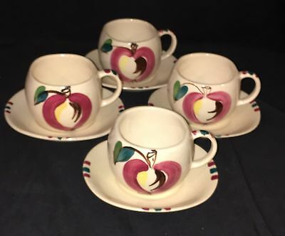 "4 Purinton APPLE *2 1/2"" CUPS & SAUCERS*"