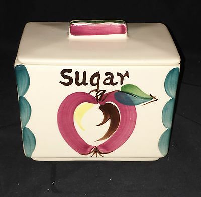 "Purinton APPLE * 5 1/2"" SUGAR* SQUARE CANISTER w/LID*"