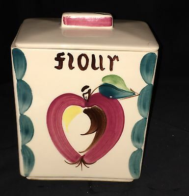 "Purinton APPLE * 7"" FLOUR * SQUARE CANISTER w/LID*"