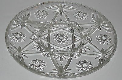 """Anchor Hocking EAPC* EARLY AMERICAN PRESCUT* CRYSTAL 11"""" *DIVIDED SWIRL PLATE*"""