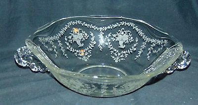 "Fostoria MAYFLOWER CRYSTAL* 11"" HANDLED BOWL* #2560*"