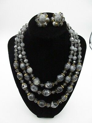 Vintage Set Necklace Earrings Vintage Beaded Layered Cluster Faux Marble Crystal
