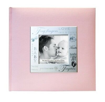 Photo Album Frame Front 200 Page Pocket Album in Baby Girl Pink Picture Family .
