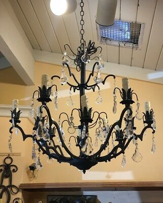 Antique French crystal pendants iron chandelier! One of a kind!
