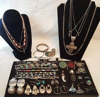 HUGE MOSTLY SOUTHWESTERN JEWELRY LOT 45 PC MANY STERLING Silver MEXICAN 543 gram