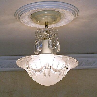154b Vintage aRT DEco CEILING LIGHT chandelier fixture glass shade white 3 Light