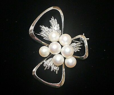 Mikimoto Sterling Silver & Seven Pearl Cluster  Brooch