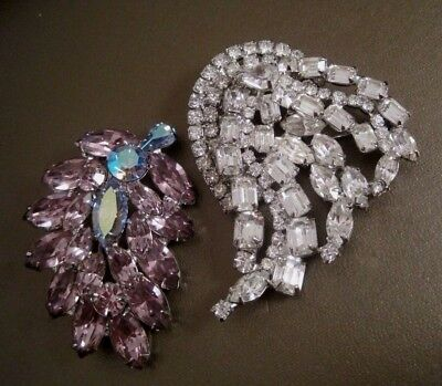 2 Vtg Signed WEISS PINS BROOCHES~CLEAR~LAVENDER PURPLE w/BLUE AURORA BOREALIS