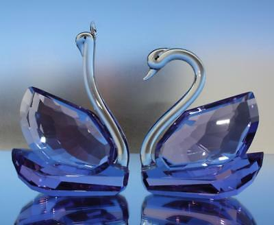 Crystal Glass Swan Pair (purple) Decor Gift