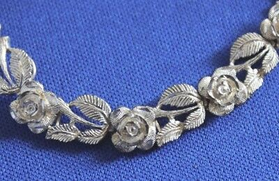 Sterling Silver 925 Vintage Antique Flower Rose & Leaf Link Bracelet