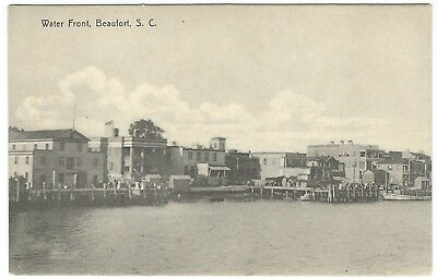 Early 1900s Black and White Postcard - Waterfront in Beaufort, SC