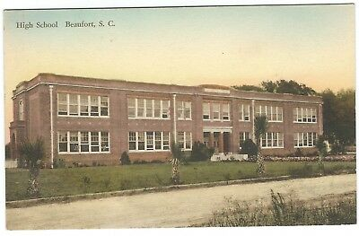 Early 1900s Hand-Colored Postcard - Beaufort High School in Beaufort, SC