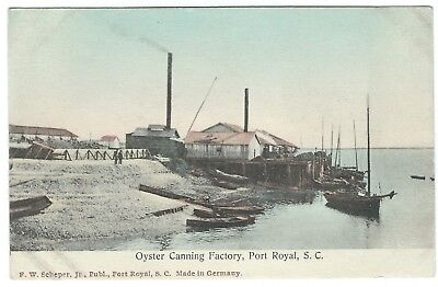 Early 1900s Hand-Colored Postcard - Oyster Canning Factory in Port Royal, SC