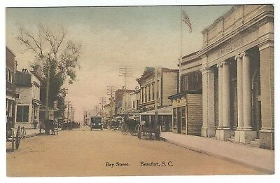 Early 1900s Hand-Colored Postcard - Bay Street in Beaufort, SC