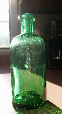c1890 Lime Green J R Nichols & Co Boston Early Medicine Bottle Clean