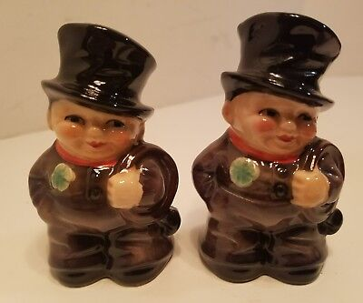 Vintage 1972 Pair of W. Germany Goebel Chimney Man Shamrock Salt Pepper Shakers