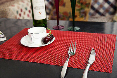 2pc PVC Western Table Mats  Insulation Bowl Placemats Kitchen Dining Pad Red