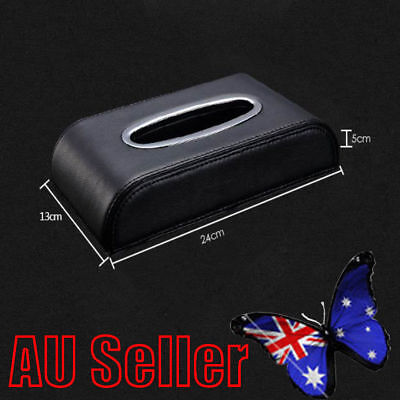 PU Black leather Car Tissue Napkin Box Cover Papers Holder Home Office Bar BK