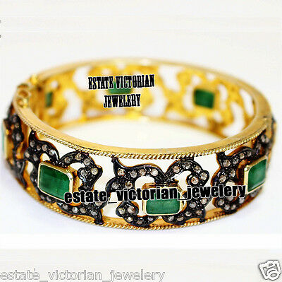 Vintage Antique 7.03cts Rose Cut Diamond Sterling Silver Emerald Bangle Jewelry
