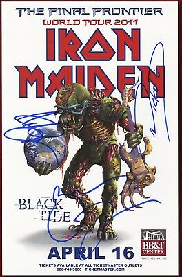 Iron MaidenBruce Dickinson, Adrian Smith, Nicko autographed concert poster 2011