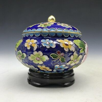 Ancient Chinese cloisonne jar of pure hand-carved peony flower image