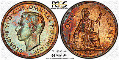 Great Britain 1937 Bronze Proof Penny PCGS PR65 RB Zombie Toned for Halloween!