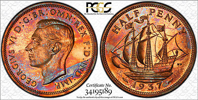 Great Britain George VI Proof Halfpenny 1937 PCGS PR65 RB Superb colorful toning