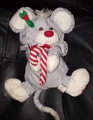 Vintage Fisher Price Puffalump Grey & White Christmas Mouse w/ Candy Cane 13""