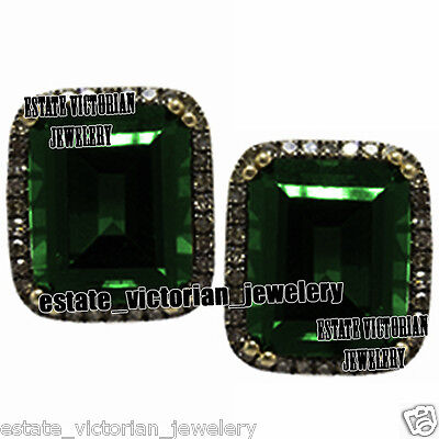Vintage Antique 2.02Cts Rose Cut Diamond Emerald Silver Studs Earring Jewelry