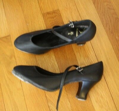 WOMENS Capezio The Dancemaker Tap shoes BLACK LEATHER MARY JANES SIZE 6